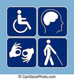 symbolika, inwalidztwo, wektor, komplet