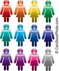 symbolika, kobieta, barwny