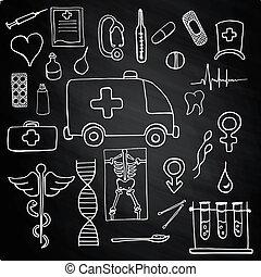 symbolika, komplet, kolor, medyczny, kreda deska, znaki