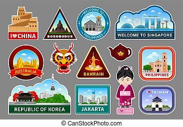 symbolika, komplet, pomniki, cielna, podróż, landmarks.,...