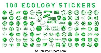 symbolika, majchry, emlems., 100, symbole, protection., 10., różny, ekologia, wektor, środowisko, illustration., eps, komplet