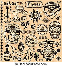 symbolika, meksykanin, wektor, komplet