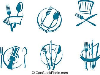 symbolika, menu, restauracja, ikony
