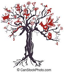 symbolika, mistyczny, drzewo, anymals, ilustracja