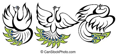 symbolika, peacocks., ptaszki