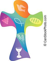 symbolika, różny, chrześcijanin, krzyż, barwny
