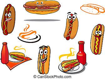symbolika, rysunek, litery, hotdog