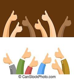 symbolika, set., wektor, kciuki do góry