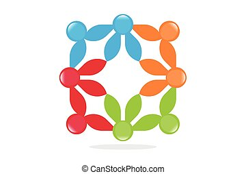 symbolika, teamwo, związany, ludzie