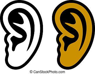 symbolika, ucho, ludzki, wektor