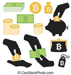 symbolika, wektor, komplet, bitcoin, ikony