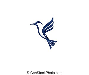 symbolika, wektor, szablon, logo, hummingbird, ikona