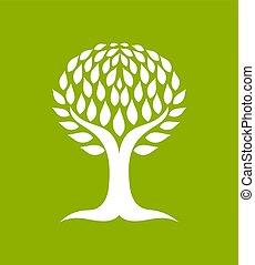 symbolique, blanc, arbre, icône