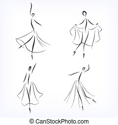 symbolique, danseurs ballet, ensemble