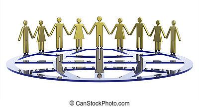 symbolique, globe, groupe, autour de, gens