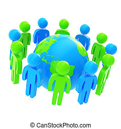 symbolique, groupe, autour de, gens