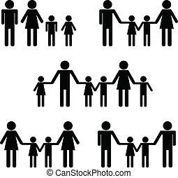 symbolique, icône, gens, families:, hetero, homosexuel,...