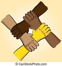 symbolique, -, illustration, connexion, collaboration, mains