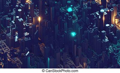 symbolise, nowoczesny, city., ślady, przypadkowy, lekki, cząstki, przedstawienie, cyfrowy, modeluje, podróżowanie, dane, fałdzisty, 3d
