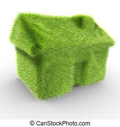 symbolizing, casa, pasto o césped, cubierto, ecologic