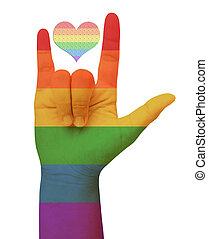 Symbolizing gay love. Freedom concept.