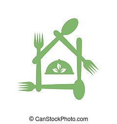 symbolizing, logo-, restaurant, europeaan, vegetariër, organisch voedsel, unie, dieet, koffiehuis, vriendelijk, portie, of, blad