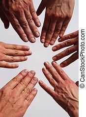 symbolizing, mains, équipe