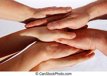 symbolizing, muchos, unidad, trabajo en equipo, manos