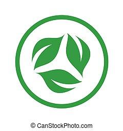 symbolizing, vegetariër, organisch, dieet, vriendelijk, logo, blad
