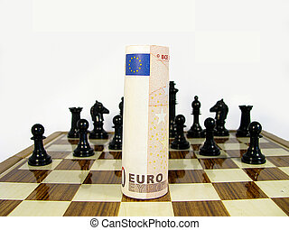 symbology all against the euro to defeat represented in a chessboard