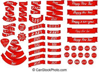symbols., ábra, fehér, új, gyűjtés, háttér., elnevezés, template., piros, elszigetelt, jel, év, gyeplő, állhatatos, nagy, tervezés, boldog, szöveg, 2021, szám, vektor, design.