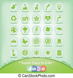 symbols., アイコン, set., 環境, エコロジー, 緑