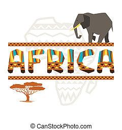 symbols., アフリカ, 装飾, 背景, 民族, 幾何学的