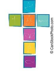 symbols., キリスト教徒, カラフルである, 交差点, シンボル, 正方形, 宗教