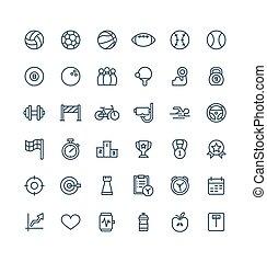 symbols., セット, アウトライン, アイコン, ベクトル, 薄くなりなさい, フィットネス, 線, スポーツ
