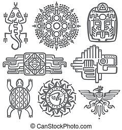 symbols., メキシコ人, mayan, 文化, aztec, トーテム, パターン, アメリカ人, ベクトル, ...