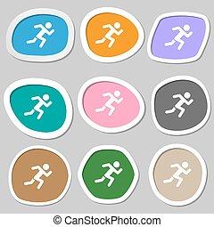 symbols., 単純である, 多彩, ペーパー, 動くこと, ベクトル, 人間, stickers., アイコン