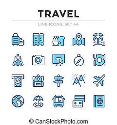 symbols., 旅行, 単純なアイコン, グラフィック, set., ストローク, ベクトル, 線, 要素, アウトライン, design., 薄くなりなさい