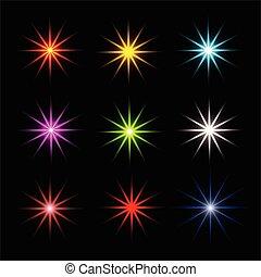 symbols., 有色人種, きらめき, star., コレクション, シンボル, stars., 光っていること, vector., きらめく