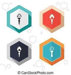 symbols., 火, トーチ, 燃えている, icons., 炎