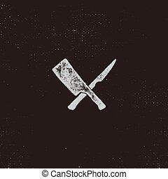 symbols., 肉, 凸版印刷, 家, 型, 隔離しなさい, シンボル。, 効果, ベクトル, デザイン, レトロ...