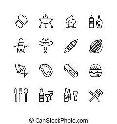 symbols., 肉, elements., アイコン, 食物, set., 屋外, ベクトル, デザイン, 台所, ∥あるいは∥, bbq, 株
