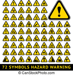symbols., 集合, 大, 三角形, 黃色, 警告, 危險