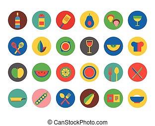 symbols., 食べること, アイコン, 食物, set., 台所, フルーツ, 夕食, ベクトル, デザイン, 在庫, ∥あるいは∥, element., 飲み物