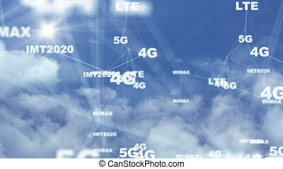 Symbols 5g moving with clouds, the concept of high-speed communication