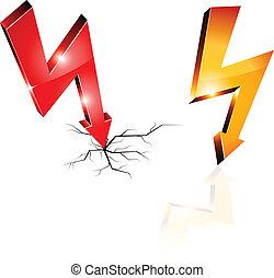 symbols., advertencia, electricidad