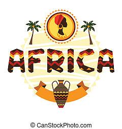 symbols., africano, ornamento, plano de fondo, étnico, ...