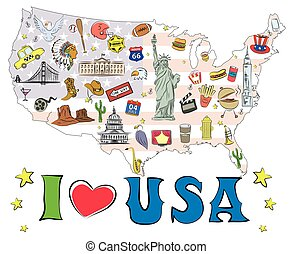 Symbols and icons located on US map,