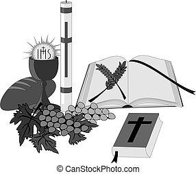 Symbols and religious signs like a paschal, a bible, a...