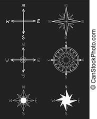 symbols., antigas, opção, elements., vindima, patterns., mão, vetorial, rosa, formado, náutico, desenhado, branca, vento